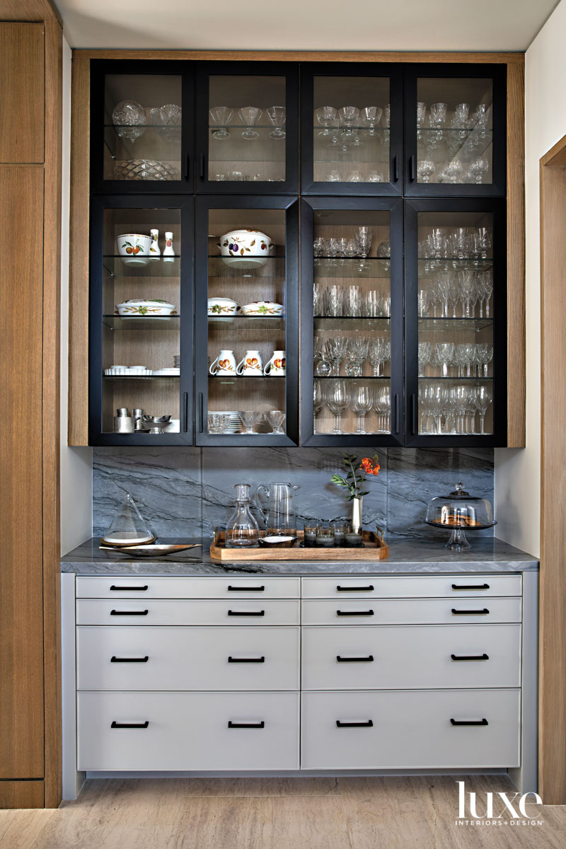 Pantry featuring shelving and drawers...