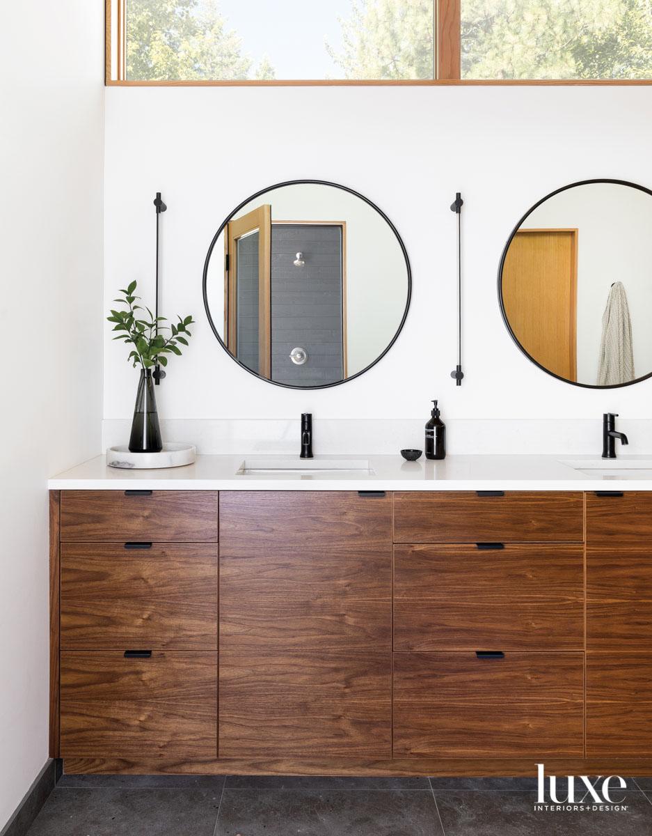 Detail of wood bathroom vanity...