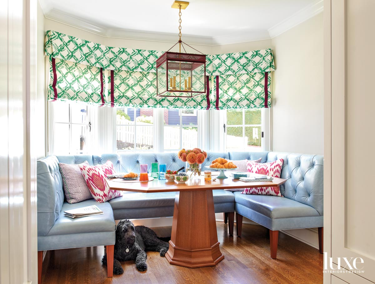 Breakfast nook with built-in tufted...
