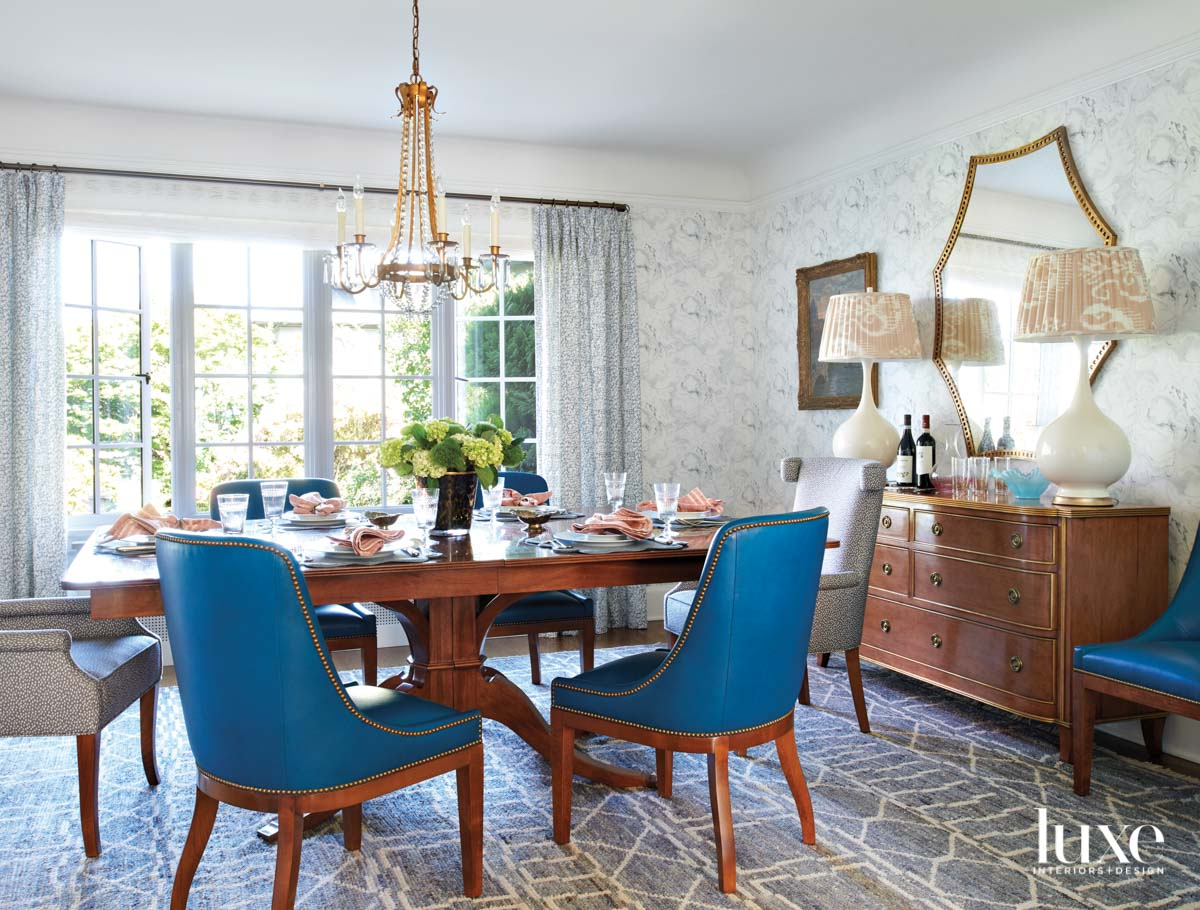 Dining room with wood table...