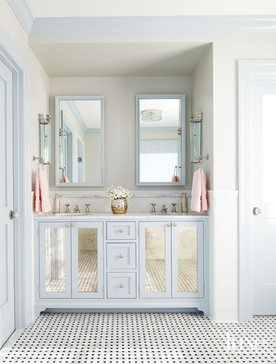 Main bathroom vanity painted blue...