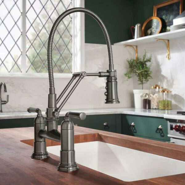 Rook® Articulating Bridge Faucet with Finished Hose