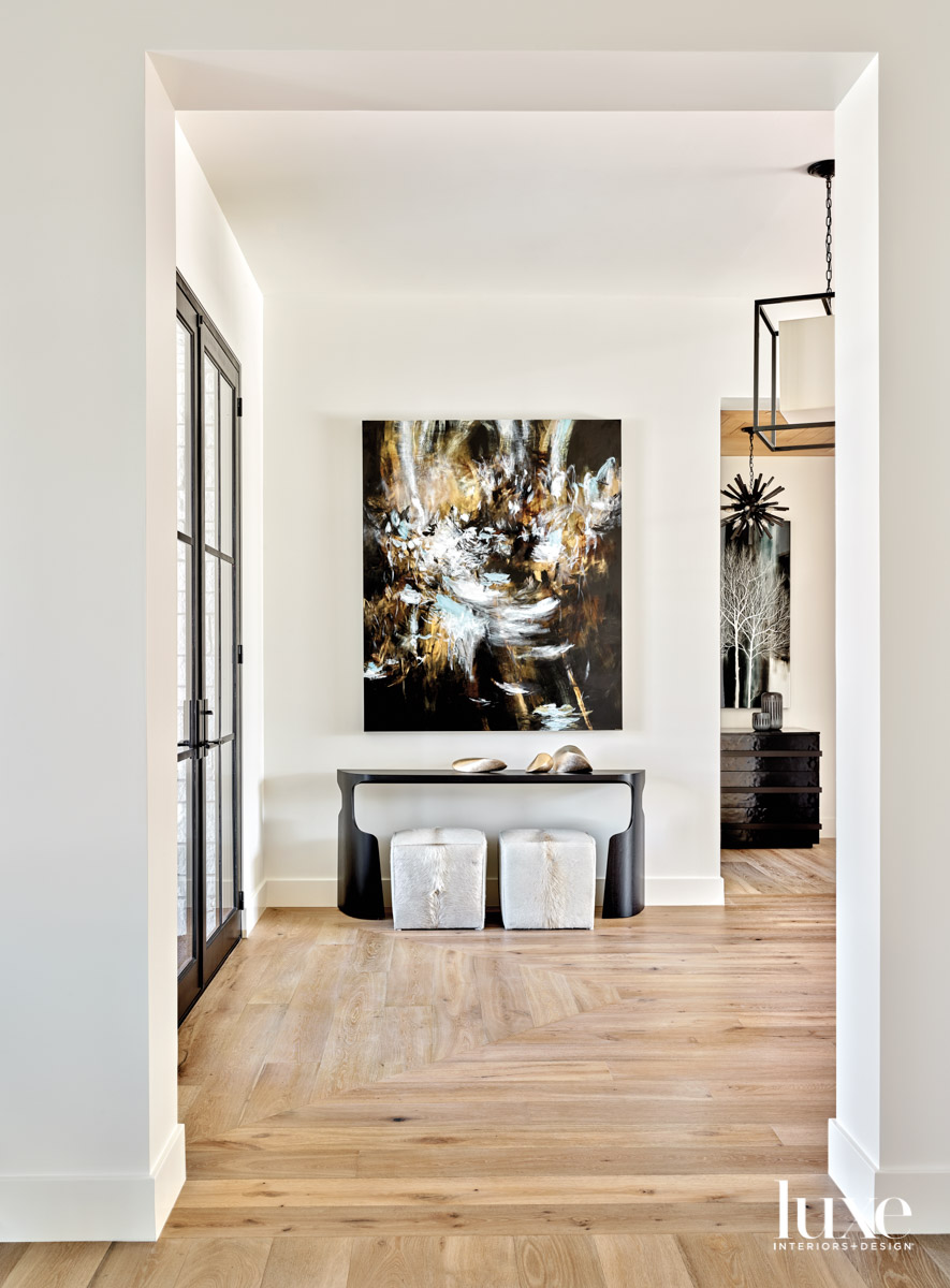A foyer with an abstract...