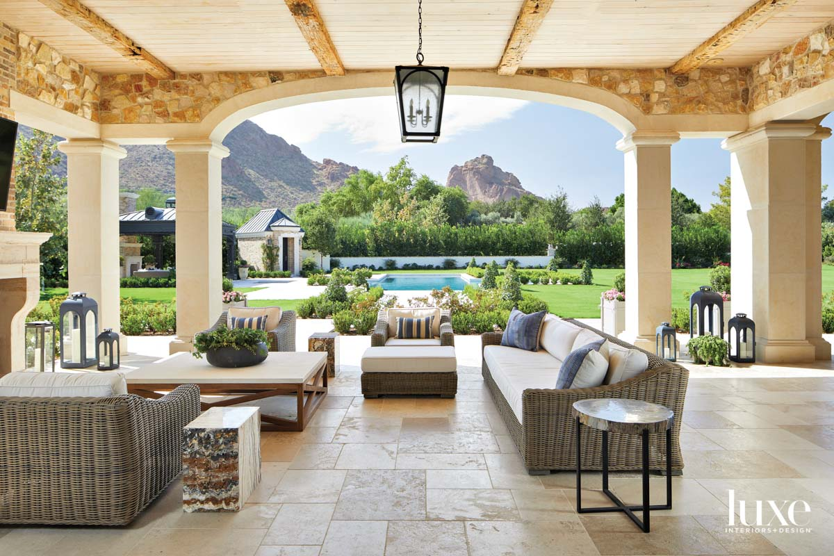 An outdoor pavilion with outdoor...