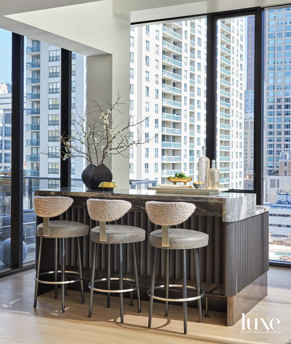 home bar with views of...