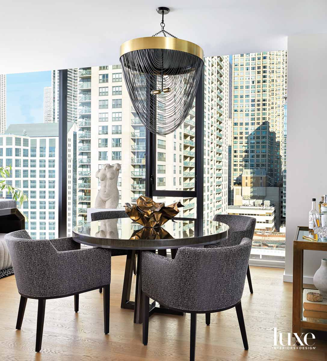 round dining table, four gray...