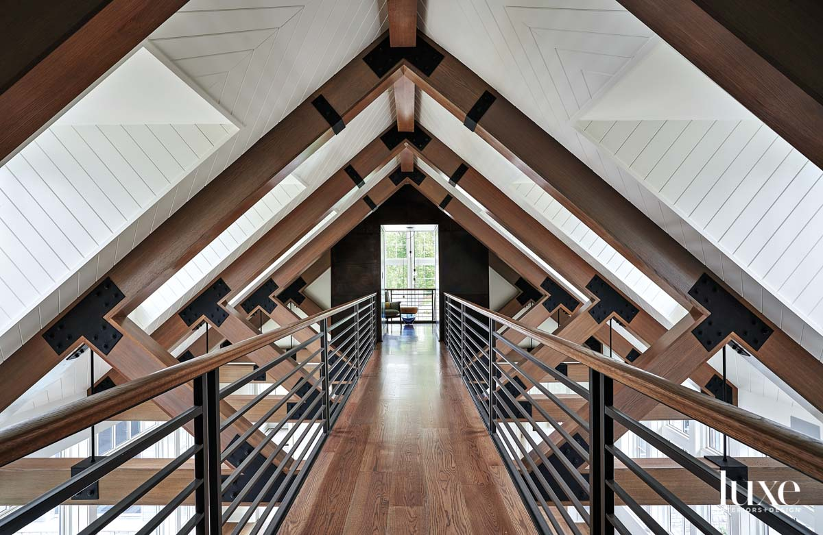 A catwalk with wooden beams...