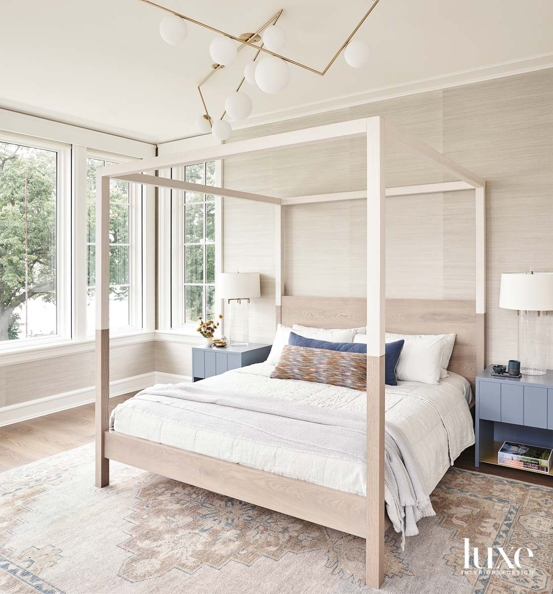 A neutral bedroom with grasscloth...