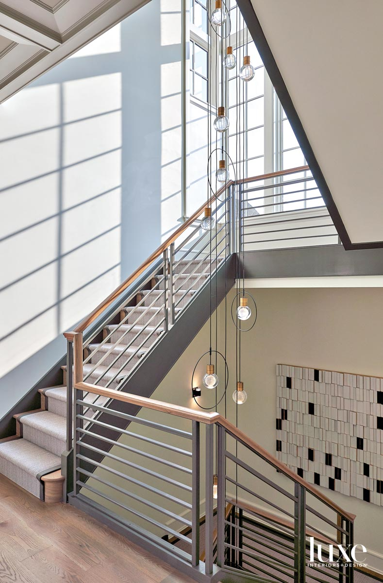 A modern staircase with a...