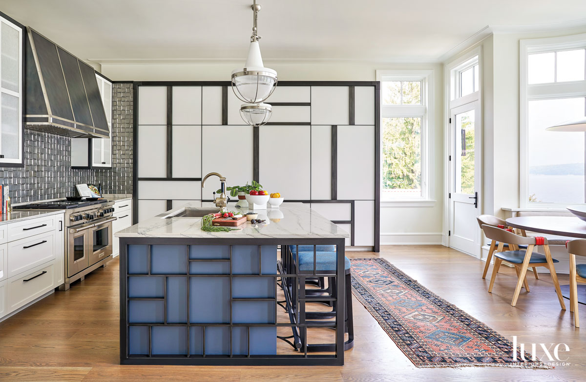 A kitchen with a blue...