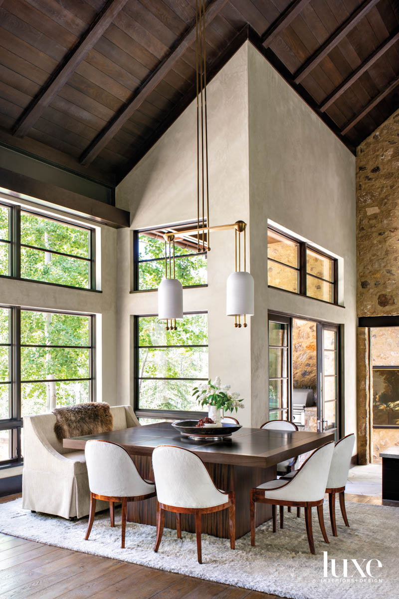 A dining room has large...