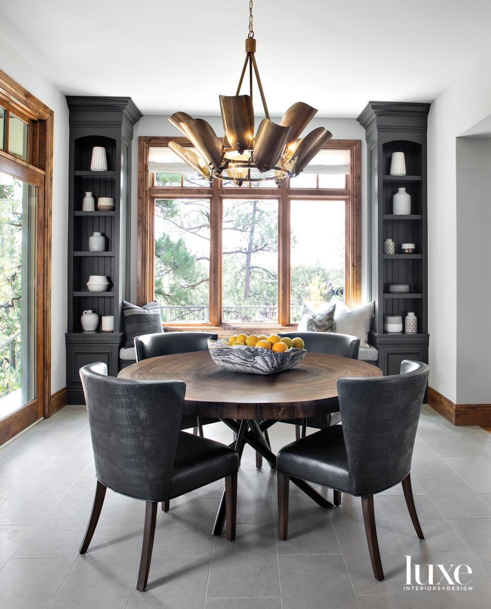 kitchen nook with round dining...