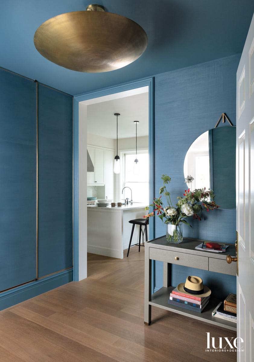 blue plaster foyer