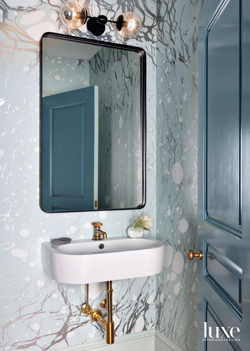 pale blue powder room