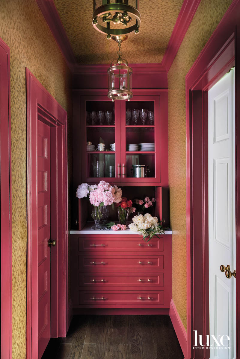 pink red wet bar in...
