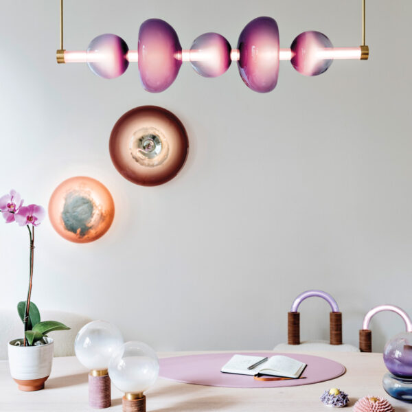 Purple Takes Center Stage In This Lighting And Chair Collection