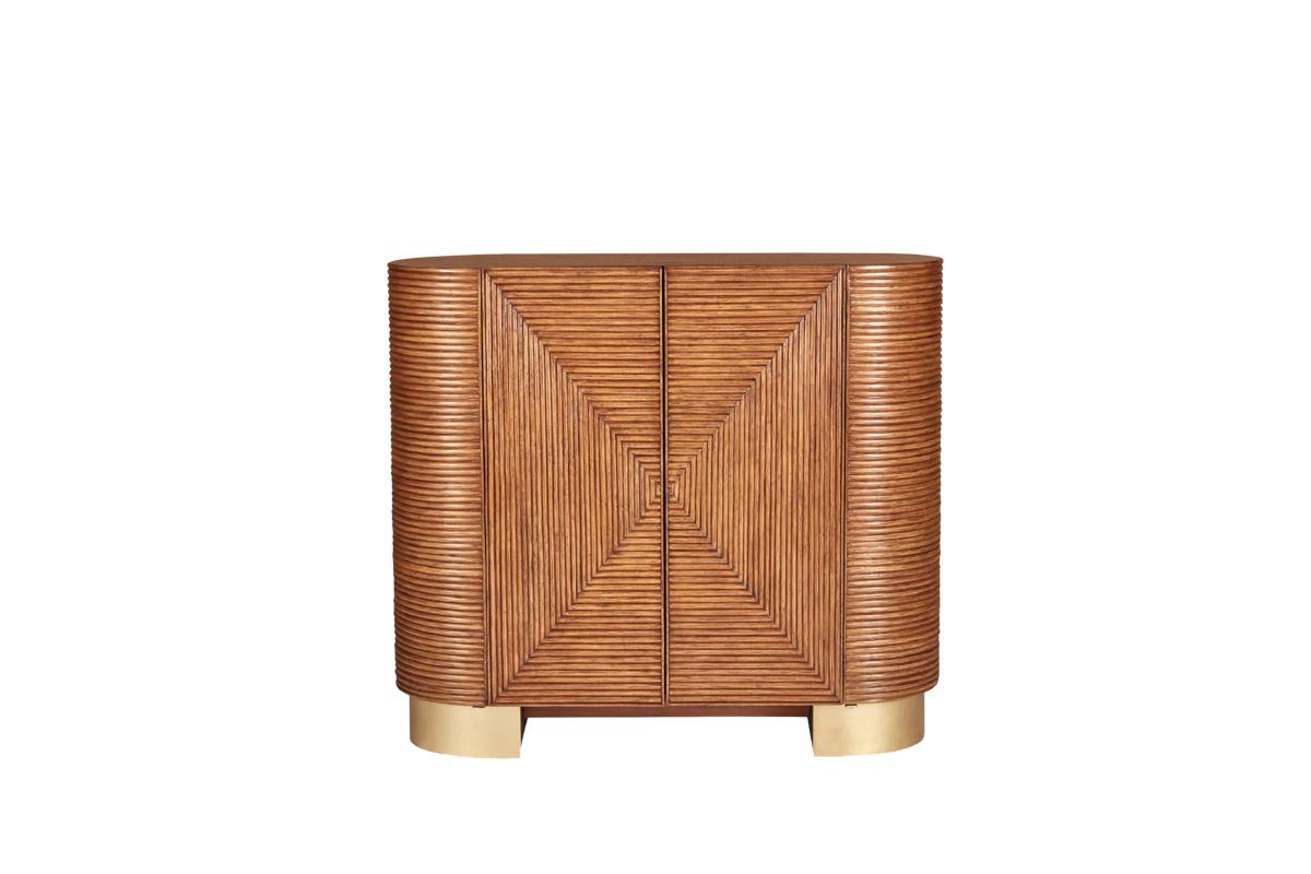 Brass and rattan bar