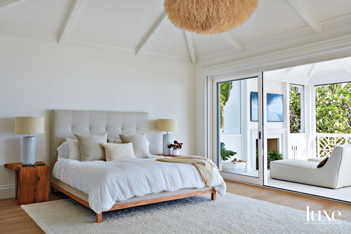 White bedroom with sea urchin-style...