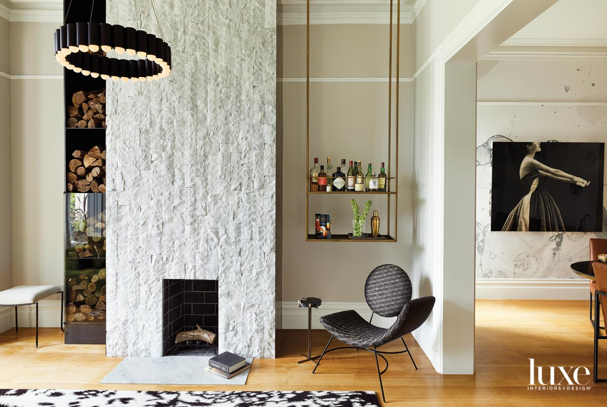 carrara marble fireplace with black...