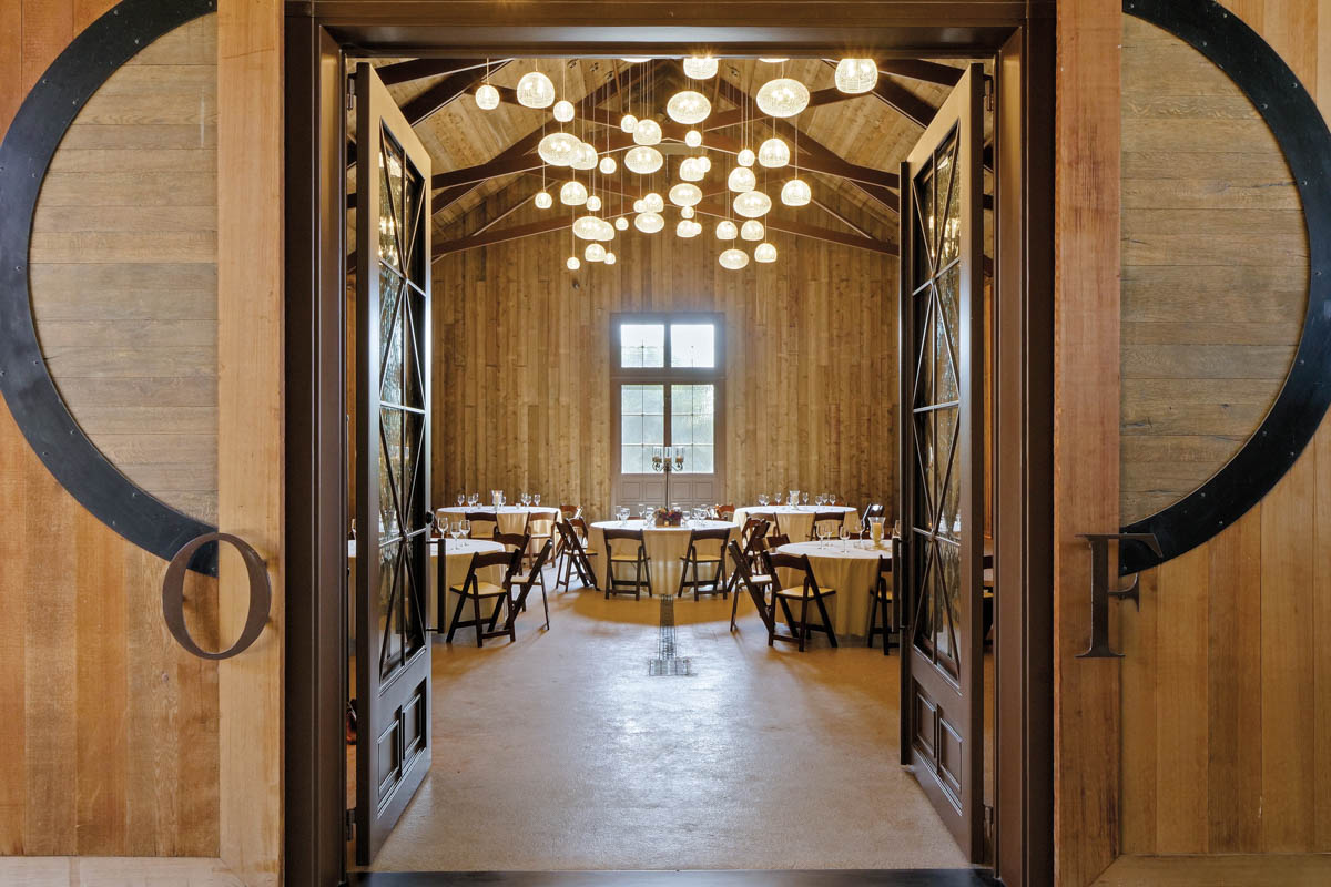 Tasting room with wood walls and ceilings