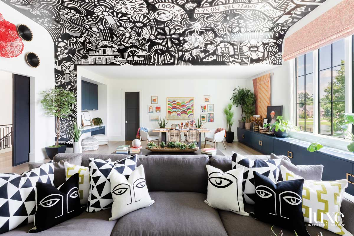 Children's playroom with funky black-and-white...