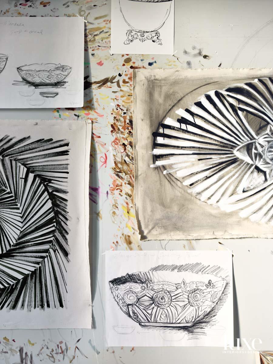 Gesso sketches against a wall