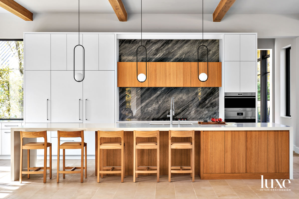 kitchen with white quartz counters...