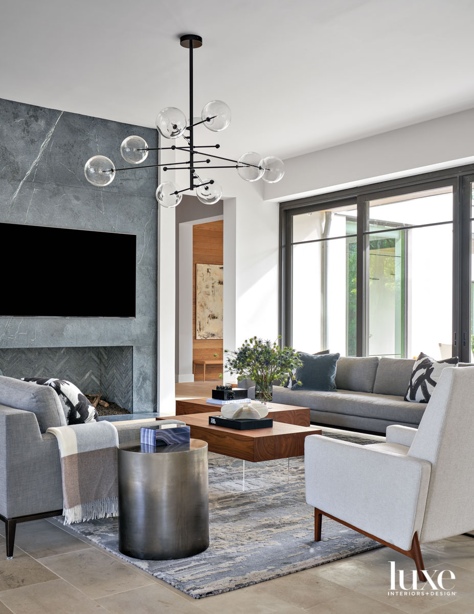 gray and white living room...