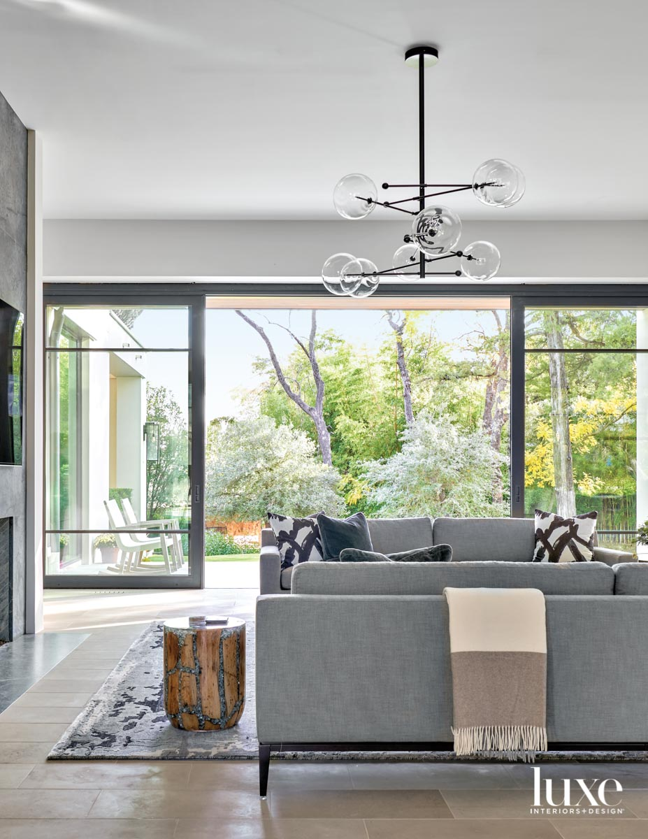 family room with charcoal sofa...
