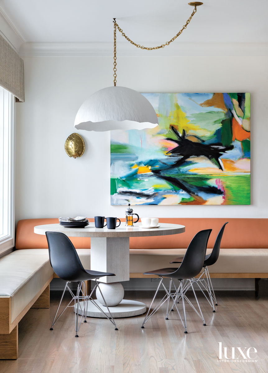 Banquette area with statement art