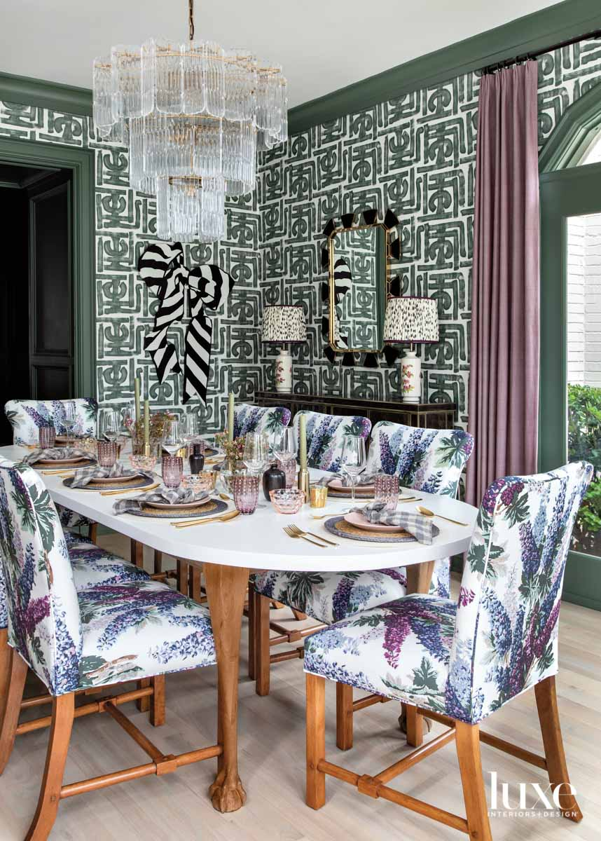 Pattern and color-filled dining room