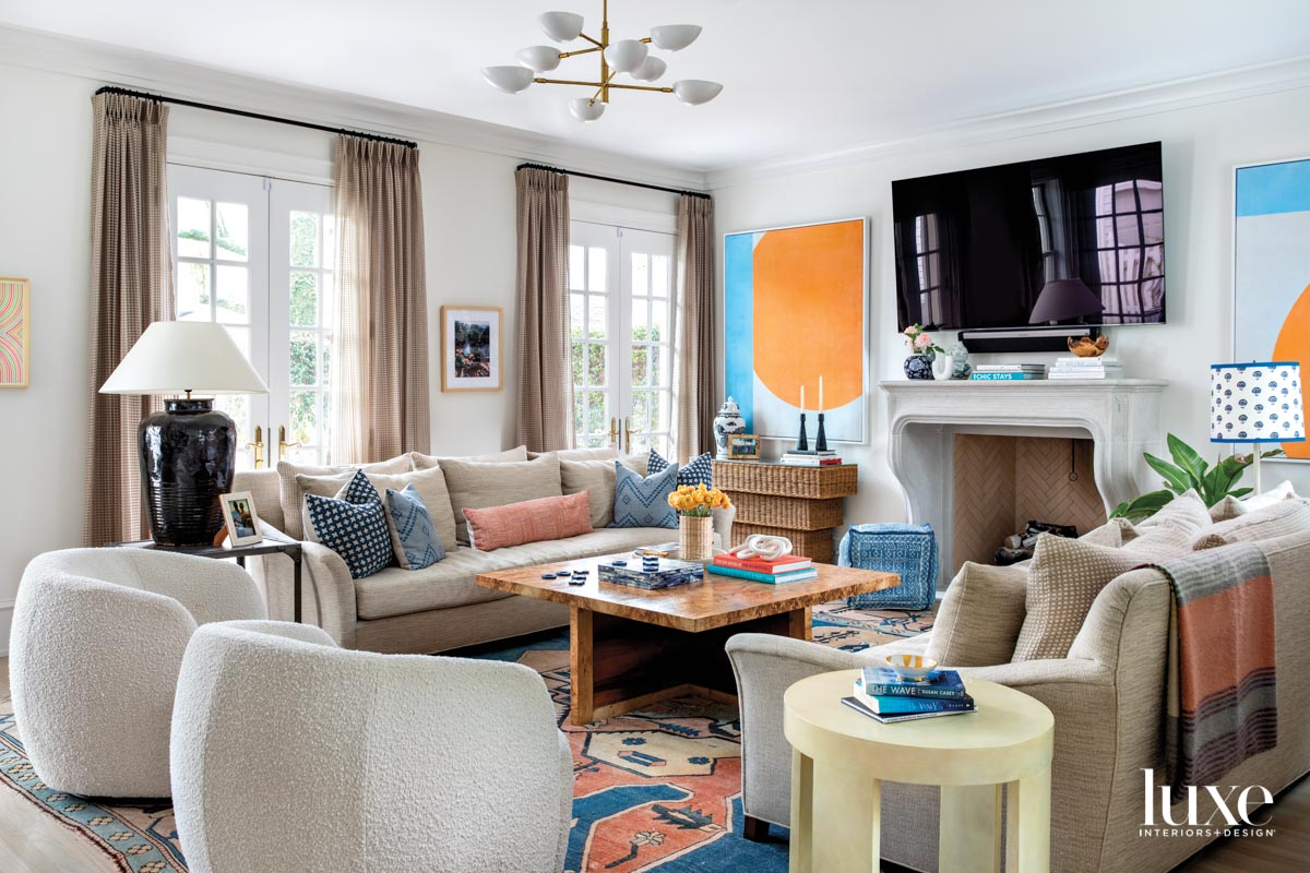 Family room with vibrant colors...