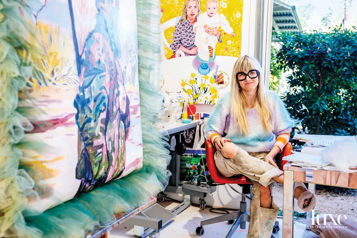 Austin artist Elizabeth Chapin in her studio