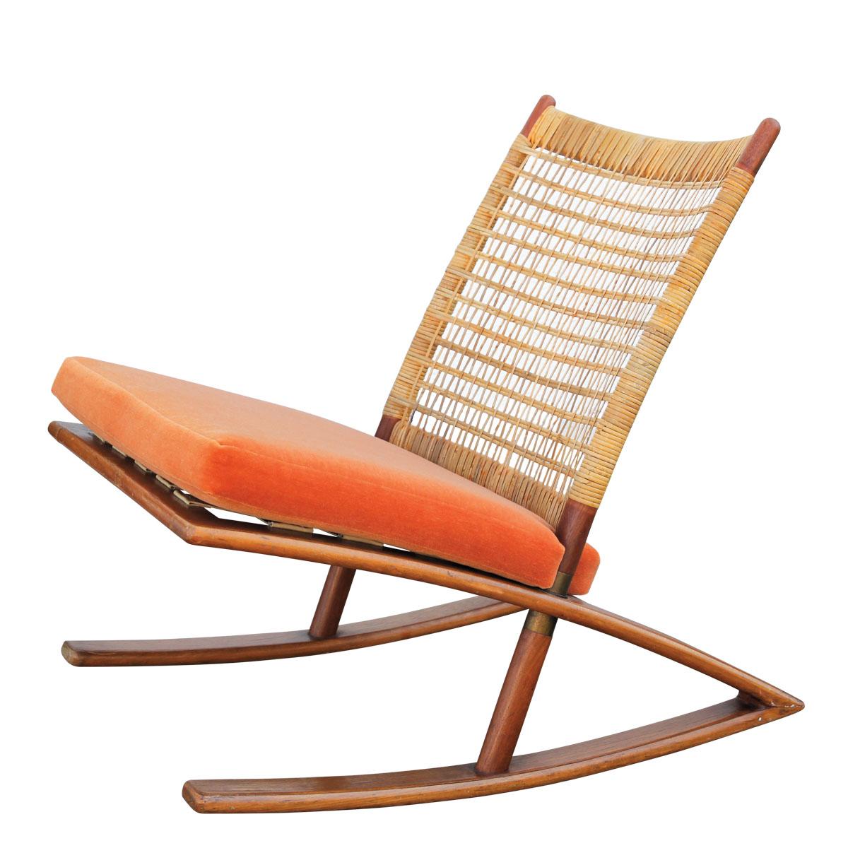 chair with orange cushion