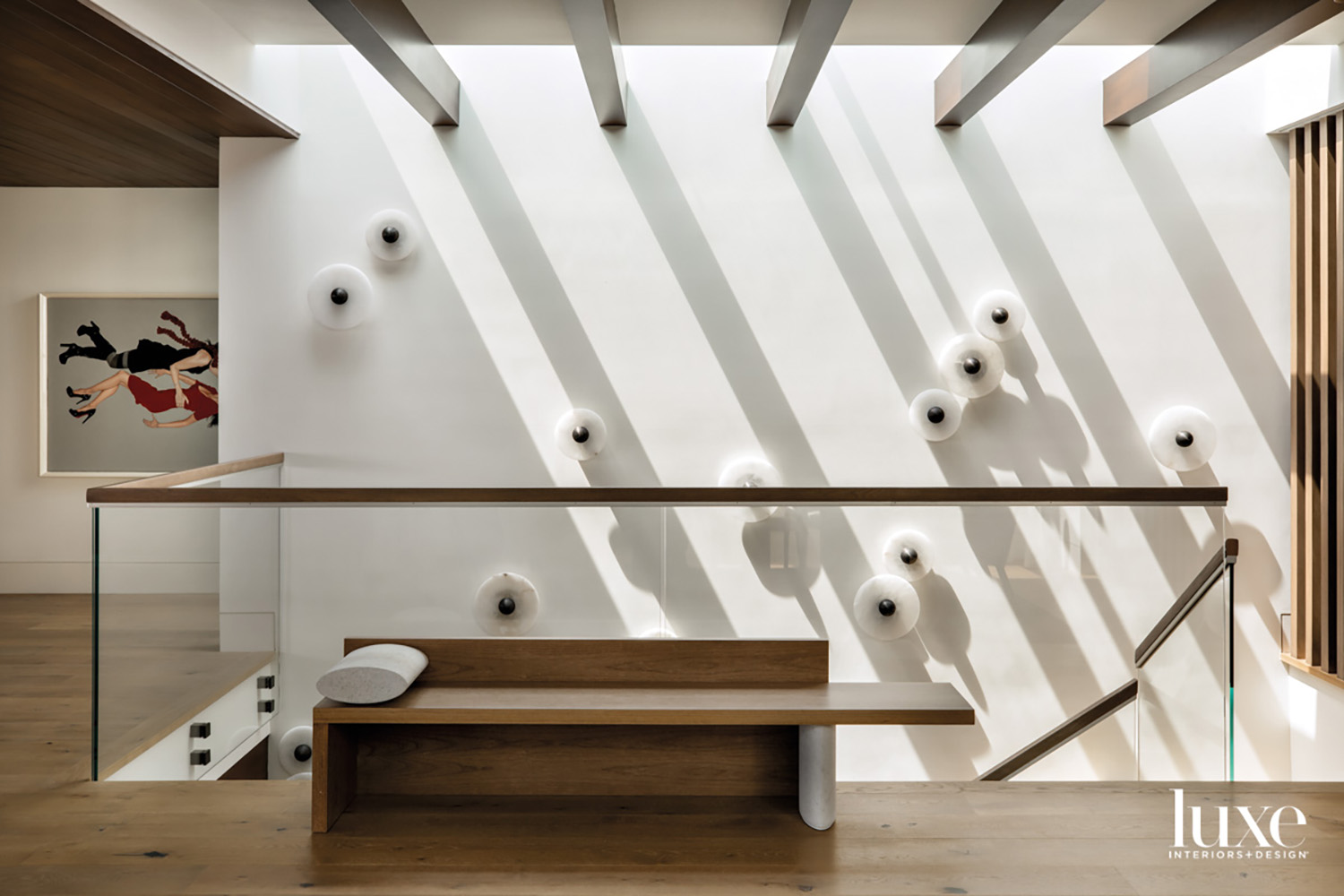 Entry with bench and wall...