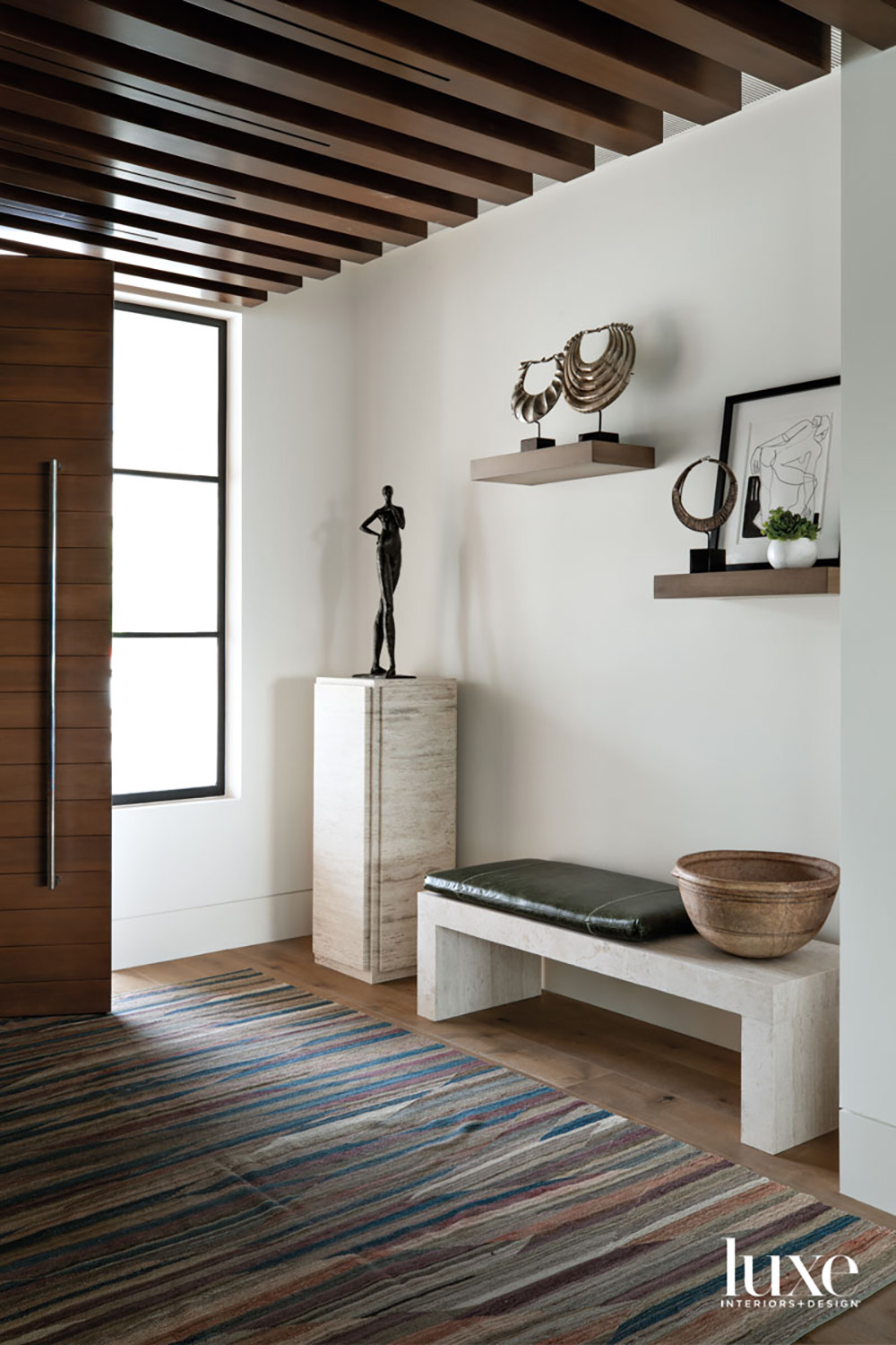Front door with entry bench...