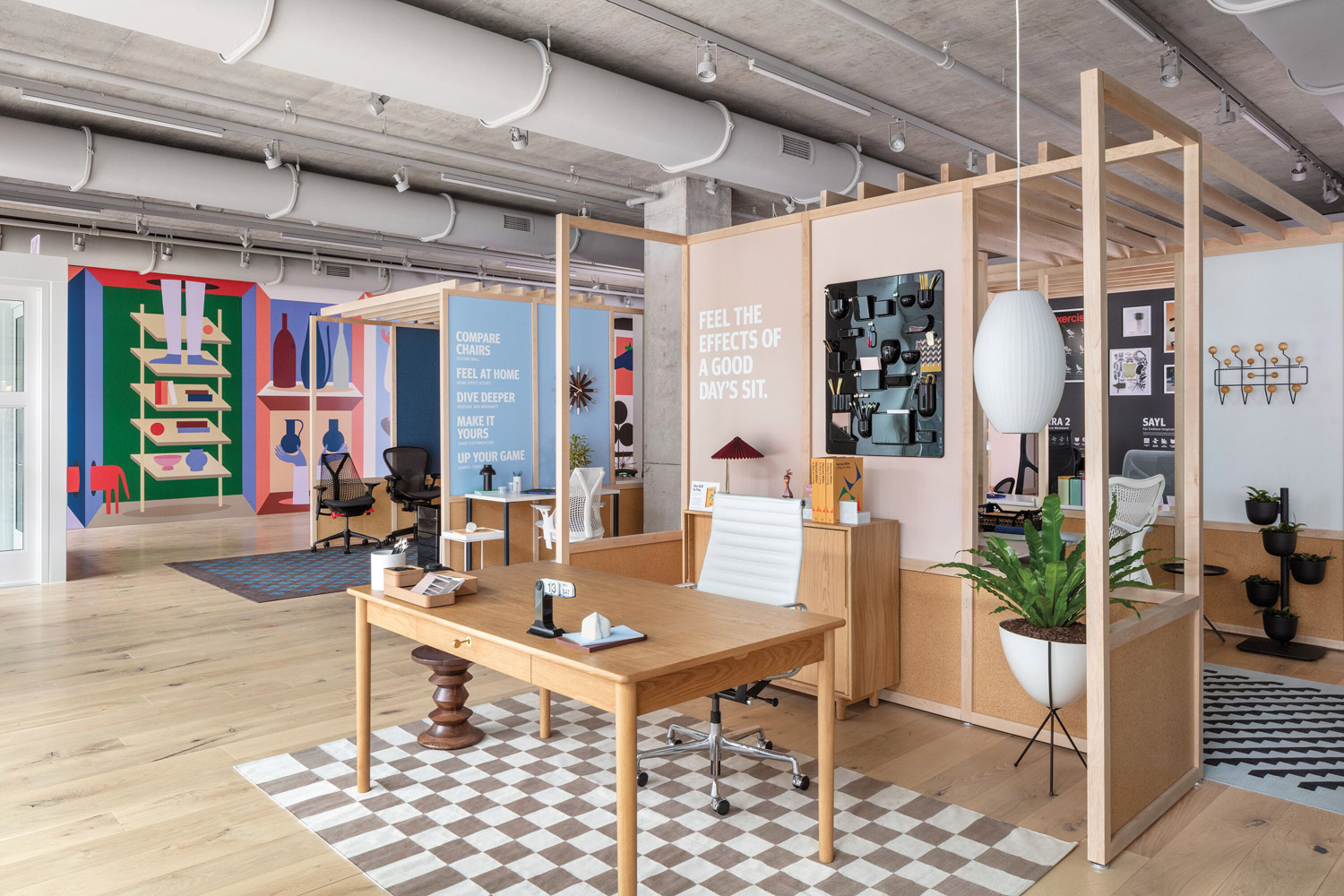 Showroom space with wooden desk and white chair on checked carpet