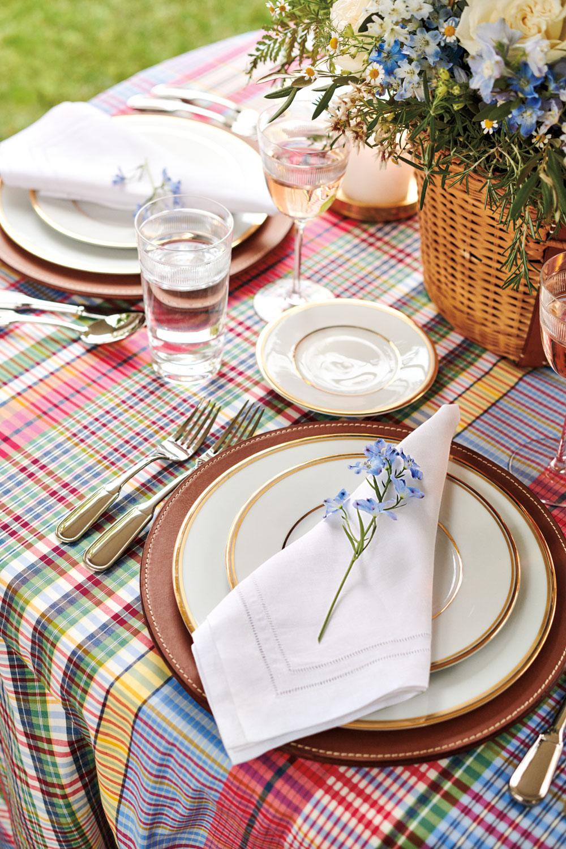 colorful plaid tablescape