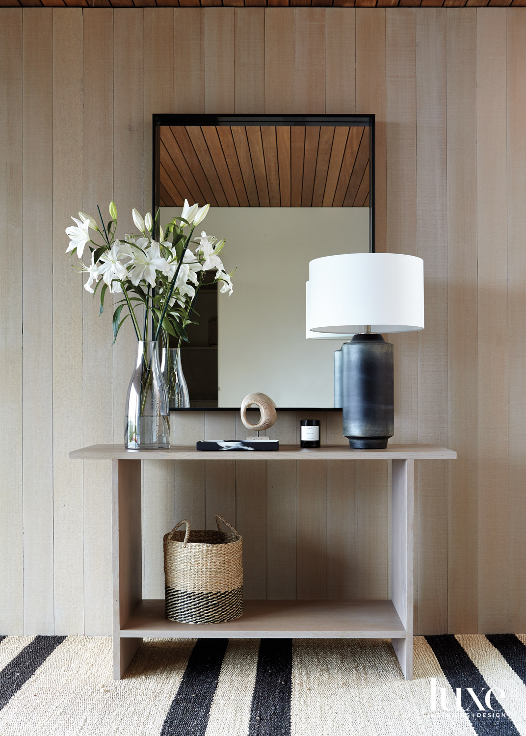 oak console table in front...