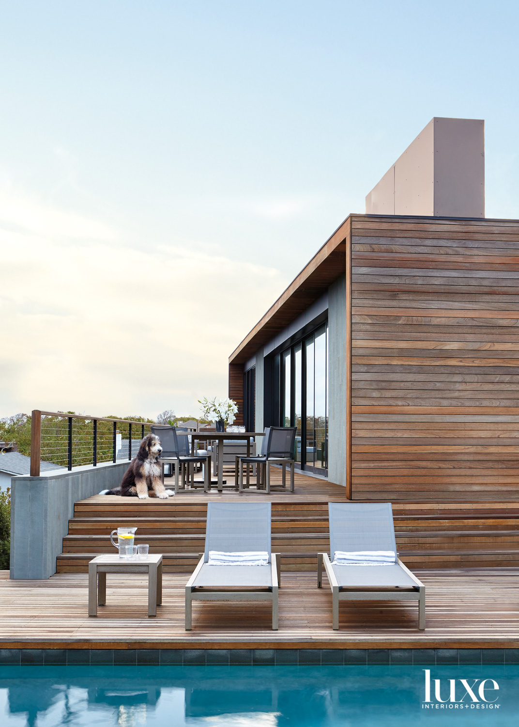 wooden house exterior and pool