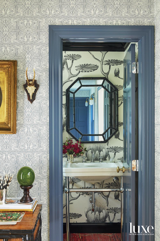 Powder room featuring antique mirror