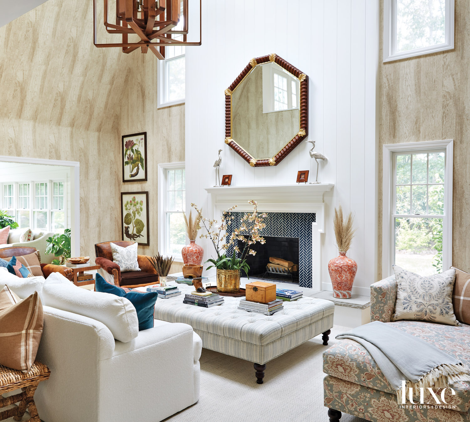 Great room with fireplace and...