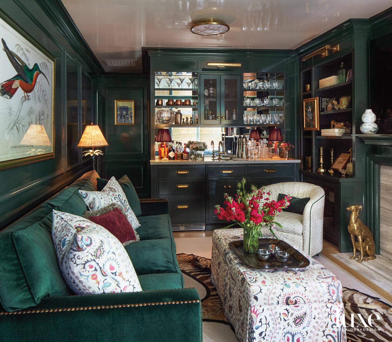 Dark green library with velvet...