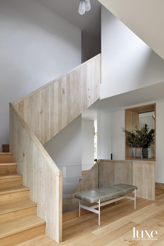 White oak wrapped staircase