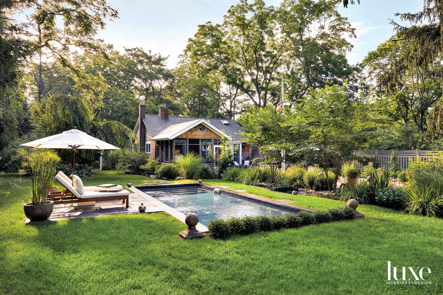 rectangular pool surrounded by greenery