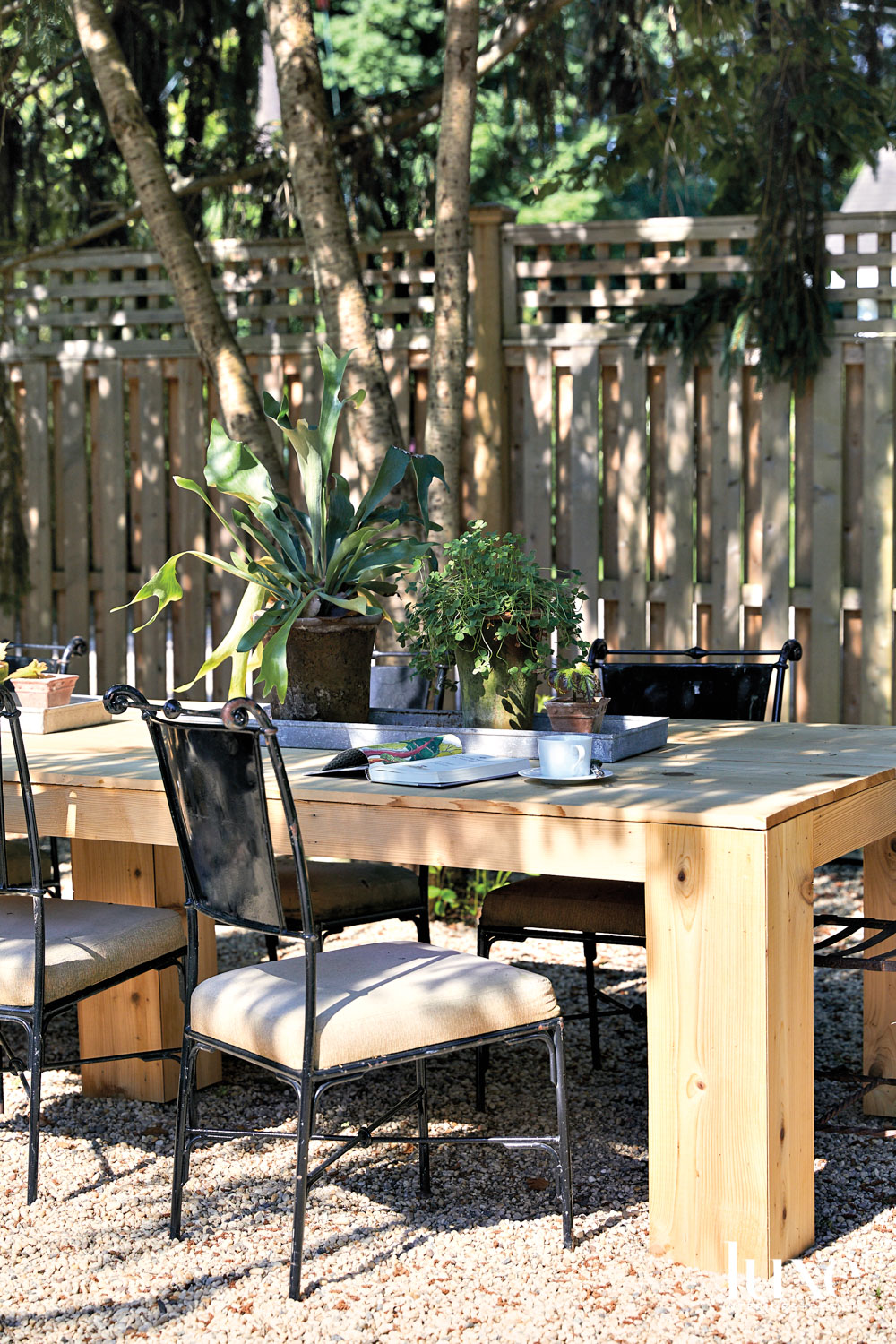 outdoor wood dining table with chairs
