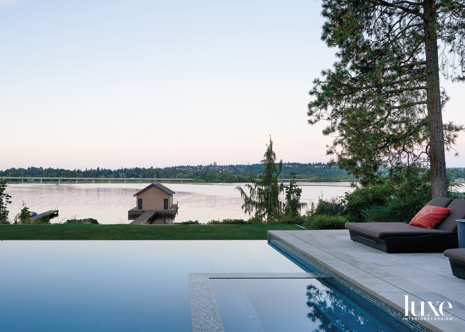 pool facing boathouse and wanter