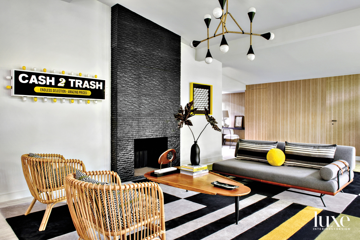 black and white living area...