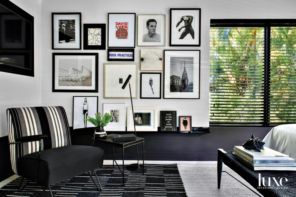 black and white bedroom corner...