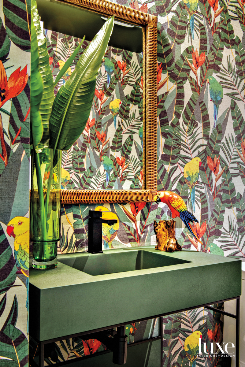 powder room with tropical jungle...